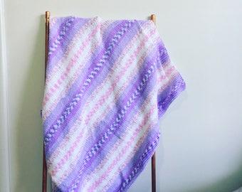 Hand knit baby blanket - baby blanket - baby shower gift - baby girl gift - new baby gift - handmade baby gift - baby photo prop - boho baby