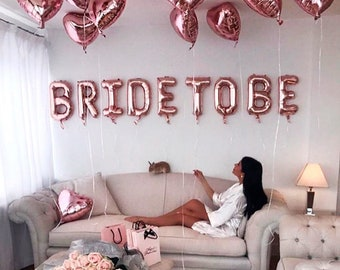 "16 inch Rose Gold ""BRIDE TO BE"" Letter Balloon Set - Bridal Shower Wedding Engagement Bachelorette Tea Party Prop Decor -"