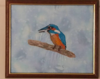 Textile art handmade machine embroidered picture of a kingfisher with fish in a wooden frame.