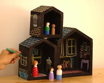 Wooden Chalk Houses with peg Family