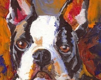 Boston Terrier Art Print of Original Acrylic Painting - 8x10