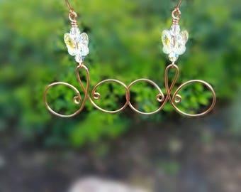 Copper Swarovski Loop Earrings