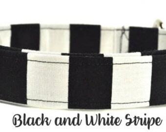 Black and White Stripe - Dog Collar