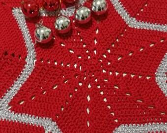 Centrino Star, crochet doily, Christmas doily, Red/Silver doily, Doily star, Doily Christmas, doily crocheted, doily Red, home decor