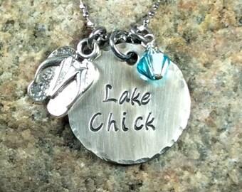 Lake Chick Handstamped Necklace
