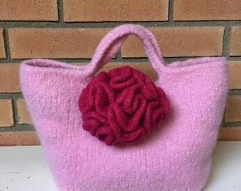 Pink Felted Handbag
