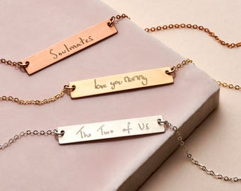 Actual Handwriting Bar Necklace - Personalised Necklace - Bar Necklace - Signature Necklace - Silver, Gold, Rose Gold NBH02