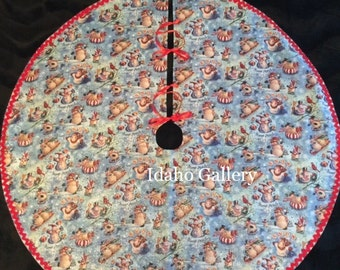 "Christmas Tree Skirt Holiday Decor Blue Red Tree Skirt Sparkled Glittered Snowman Snow Angel 41.5"" Tree Skirt Christmas Decor Ready to Ship!"