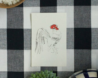 Etching - Year of the rooster / handmade french rooster etching / handmade gift / farm animals / chinese new year 2017