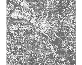 Dallas Cityscape Map Art / Texas City Art Print / 8x10 / Choose your Color