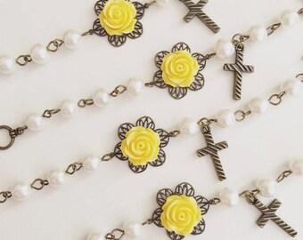 Flower Bracelet, Christening Bracelet, Cross Bracelet, Flower Girl Gift, Childrens Gift, Baptism Gifts, Infant Jewelry, Wedding Accessories