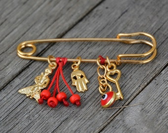 Baby Shower Gift Red Little Prince Keepsake Safety Pin for Crib or Stroller