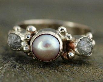 3 Ring Bridal Set- 14k White Gold Engagement Ring with Rough Diamonds and Pearl, and Two Wedding Bands- Custom Made