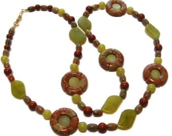 Autumn Jasper, Red Jasper, and Olive Jade blend to create shades of autumn.