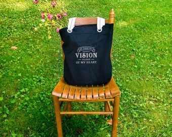 Be Thou My Vision canvas school bag black, shoulder canvas bag, tote everyday bag, farmers market bag, big bag tote, birthday gifts for her
