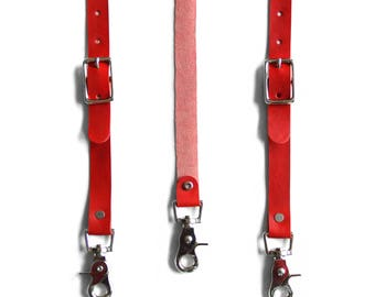 Leather Suspenders (Y - Back Style) -- Red Leather