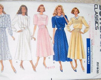 Butterick Classics 4368 - Misses Jewel-Necked, Loose-fitting blouson Style Bodice Dress with Flared Skirt  Size 12 - 14 - 16