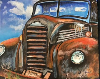 11x14 Acrylic Painting - Canvas Board, Rusty Old Truck