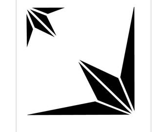 TILE06Q Reusable Laser-Cut Floor or Wall Quarter Tile Stencil Points