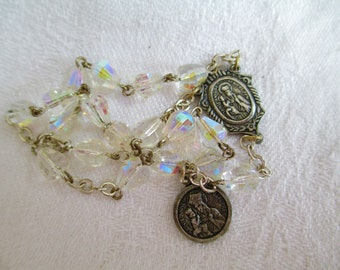Vintage Chaplet Little Rosary of Sainte Anne with Basilica Double Sided Charm & Center Tear Drop Crystal Prayer Beads Devotional Religious