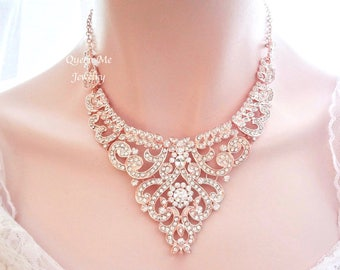 SALE Rose gold necklace Rose gold crystal necklace Rose gold bib necklace Wedding necklace Brides necklace Rose gold Statement necklace MIA
