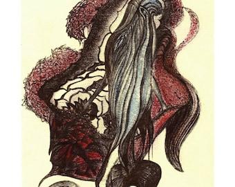 Lotus Mermaid - Original Painting Drawing Print, Home Decor, Wall Art, Wall Decor, Hand Painted Art Print, Home Decoration, UNUSUAL