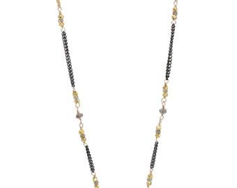 Labradorite, Oxidized Silver and Gold Axe Chain Necklace
