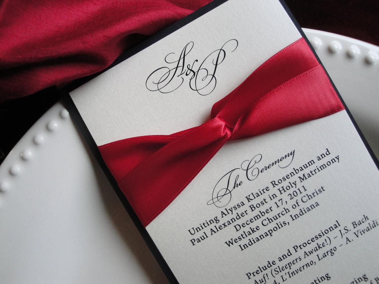 Wedding Programs Elegant Classic Contemporary Black