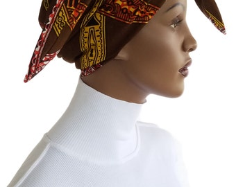 African Head Hat Hair Wrap Scarf Cotton Brown Orange Yellow African Satin Lined Chemo Hat Natural Hair Wrap Scarf Easy Wrap Turban Handmade