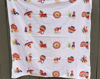 """Nice Mexican Vintage Tablecloth - 48"""""""