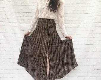 Vintage 90s Sheer Polka Dot Wrap Skirt XS S Brown White Midi Ankle Length