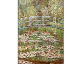 """Bridge over a Pond of Water Lilies 1899 by Claude Monet Canvas Art Print (1028) 26""""x18"""""""