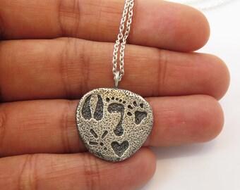 Vegan Pendant,Sterling Silver 925, Handmade Jewelry, Paws and Footprints Pendant on Sterling Silver Chain, Vegan Necklace, Vegan Gift