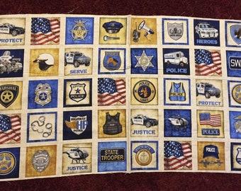 Protect & Serve Law Enforcement 100% cotton fabric panel approx 24 x 44 - NATURAL - item 26126 E - 40 blocks per panel!