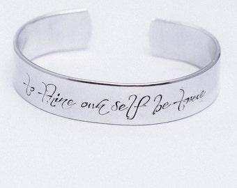 To Thine Own Self Be True / Shakespeare Jewelry / Shakespeare Bracelet / Hamlet / Literary Jewelry / Quote Jewelry / Inspirational Jewelry