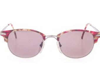 Roy Tower vintage burgundy havana and satin adorned gunmetal clubmaster sunglasses, 1980s NOS