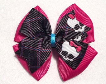 """Monster High Hair Bow - 3"""" Stacked Boutique Pinwheel Bow with Sculls on Partially Lined Clip - Pink, Black, Blue - Ready to Ship"""