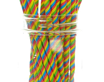 Circus Party Straws, Stripe (25 Circus Pack) - 60's Psychedelic  Pattern Paper Straws, 70's Disco Party Supplies, Carnival Print  Straws