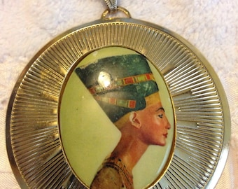 Nefertiti Cameo Signed Vintage Necklace Egyptian Revival