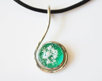 Pet Cremation Jewelry Ash Necklace-Fused Glass and Hammered Wire Memorial Pendant made of your pet's ashes-Cremation Glass Jewelry