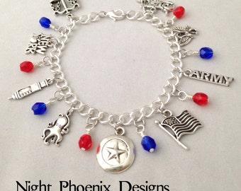 Patriotic Superhero Charm Bracelet