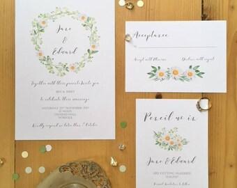 Rustic Daisy Wedding Invitation & RSVP set.Handmade Wedding Invitation.Daisy invitation.Daisy RSVP.