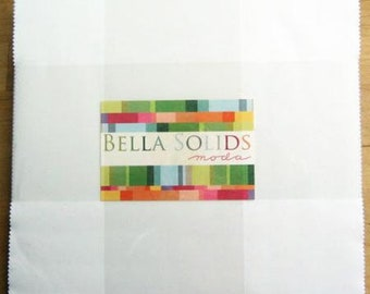 "White Layer Cake, Bella Solids 9900LC-98 from Moda 10"" Squares"