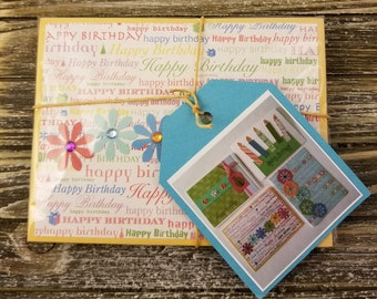Cute Birthday Cards 4-Pk, Handmade Blank Inside, Envelopes Included