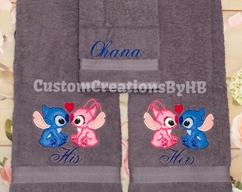 Stitch And Angel His And Hers Bath Towel Set, Stitch And Angel Bathroom  Decor,