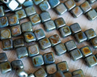 6mm CzechMates Tile Beads - Picasso Luster - Grey Metallic - Picasso Czech Glass Beads - Two Hole Tile Beads - Bead Soup Beads