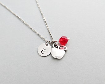 Apple Initial Necklace Personalized Hand Stamped - with Silver Apple Charm and Custom Bead
