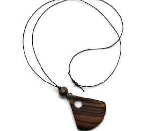 Reclaimed Solid Wood Pendant Triangle Cutout on Adjustable 1.5mm Leather Cord
