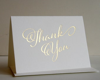 Thank You Card - Fancy Thanks - Gold foil