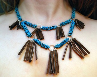 Verdigris Chainmaille and Leather Necklace